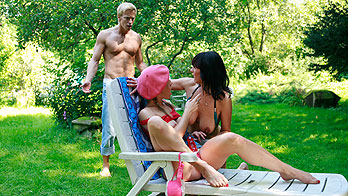 Sunbathing mom seduces son's girlfriend